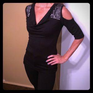 Brand new black cold shoulder top